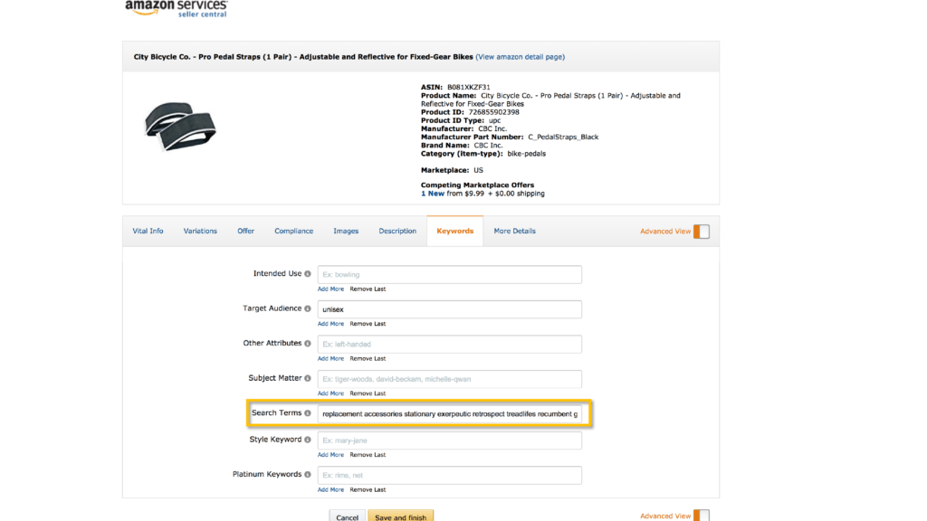 Backend search terms amazon