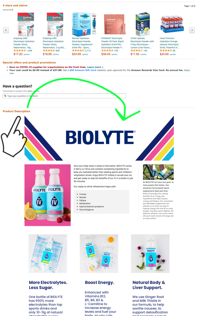 Example of where Enhanced Brand Content is on the listing page